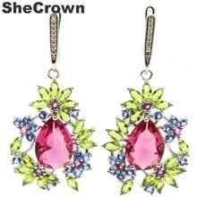 47x23mm Multi Color Pink Tourmaline Green Peridot Tanzanite CZ Ladies Gift For Ladies Silver Earrings