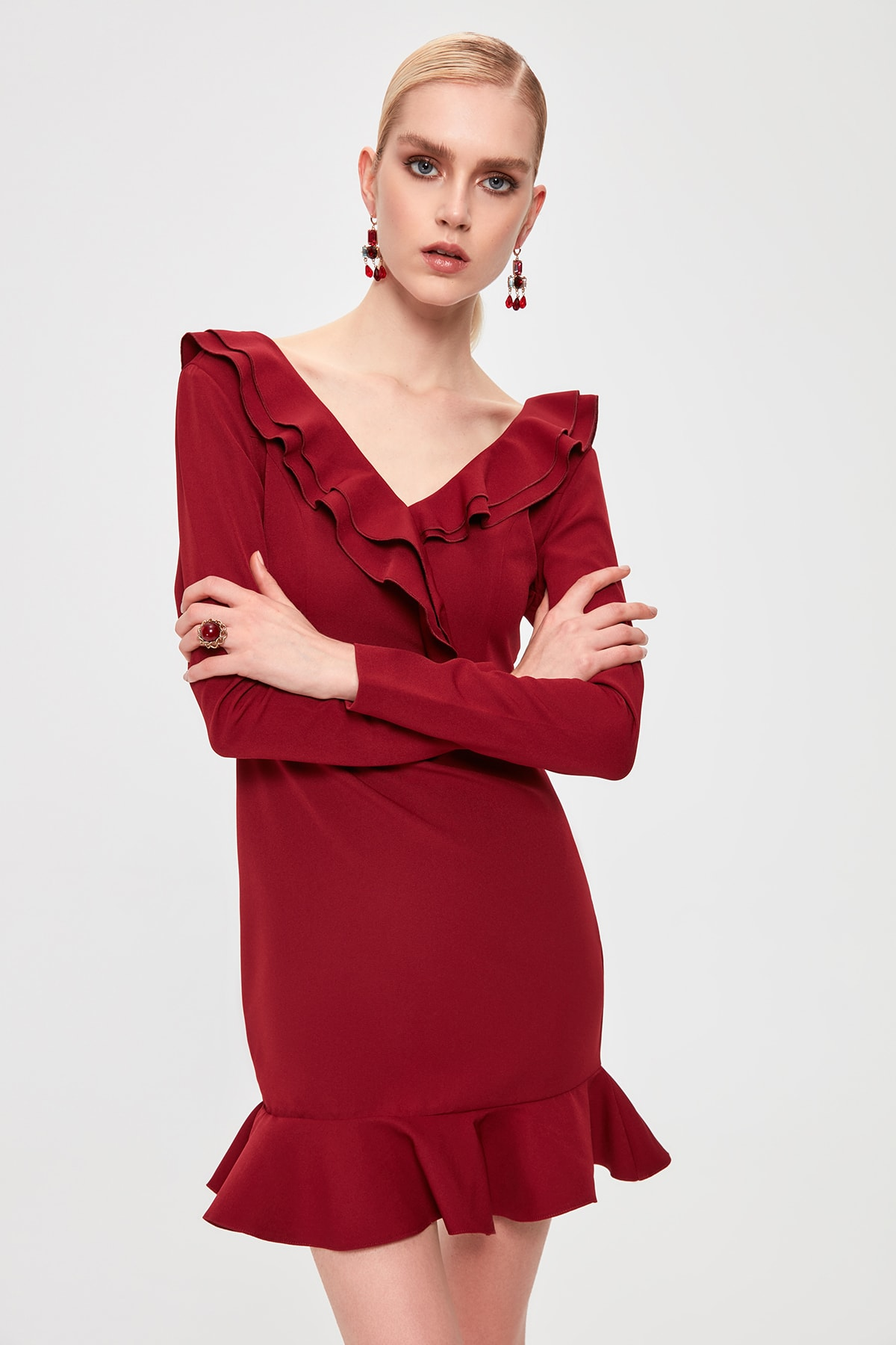 Trendyol Flounces Dress TPRAW20EL1424