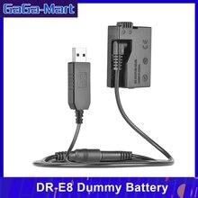 Andoer DR E8 manequim bateria com dc power bank usb adaptador cabo de substituição para LP E8 para canon eos 550d 600d 650d 700d dslr cam