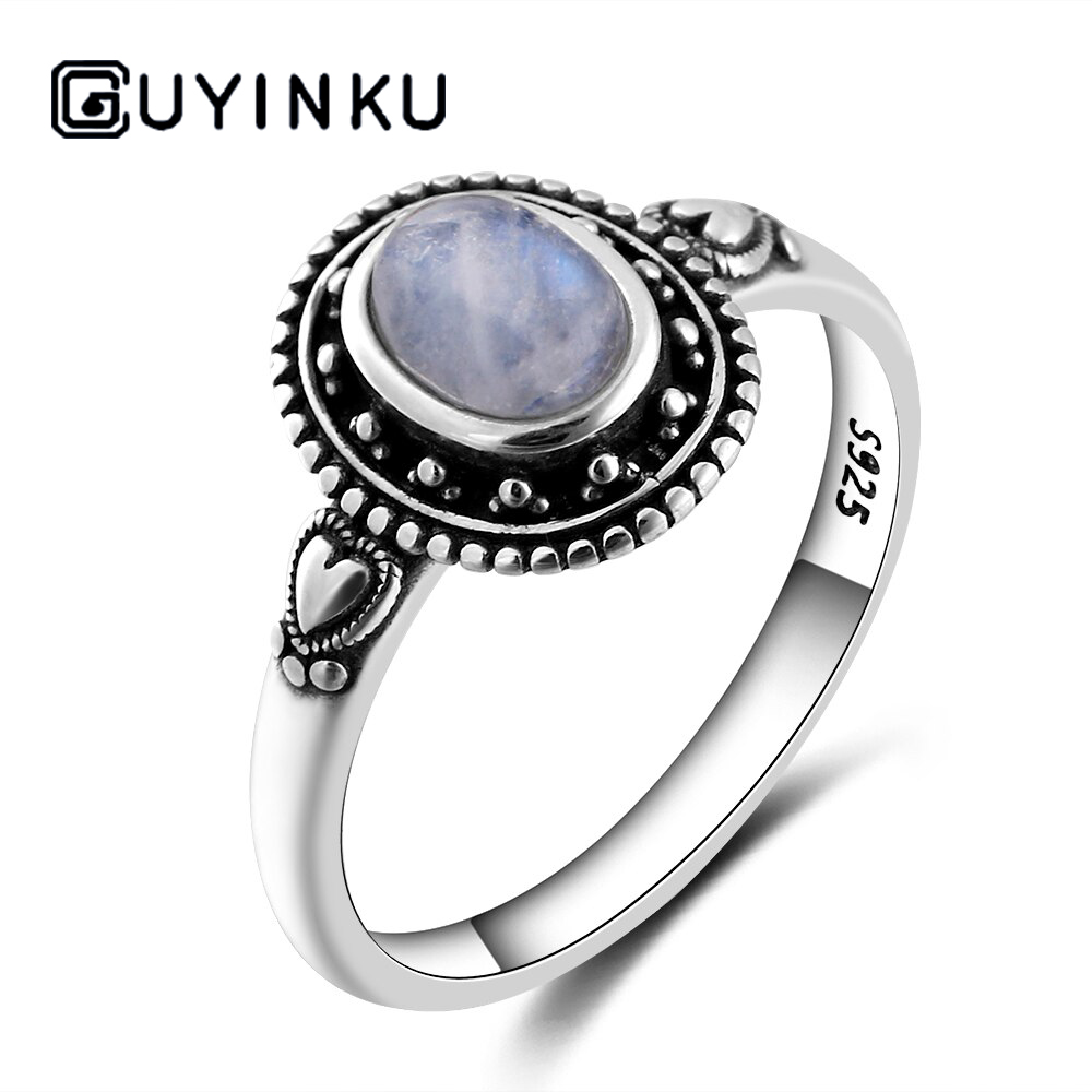 GUYINKU New Design 5X7mm Natural Moonstone Ring 925 Sterling Silver Jewelry For Women Cocktail Party  Birthday Gift