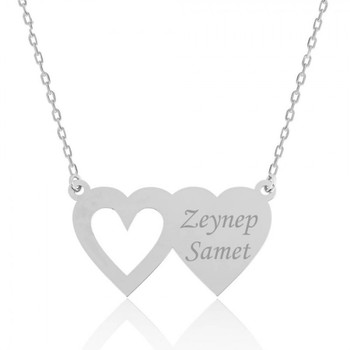 VAOOV 925 Sterling Silver Two Heart Name Necklace