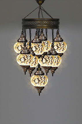 9 Ball White Housewares  mosaic lamp  turkish mosaic lamp  Lighting  Chandelier  glass mosaic lamp  Hanging lamp |Chandeliers| |  - title=