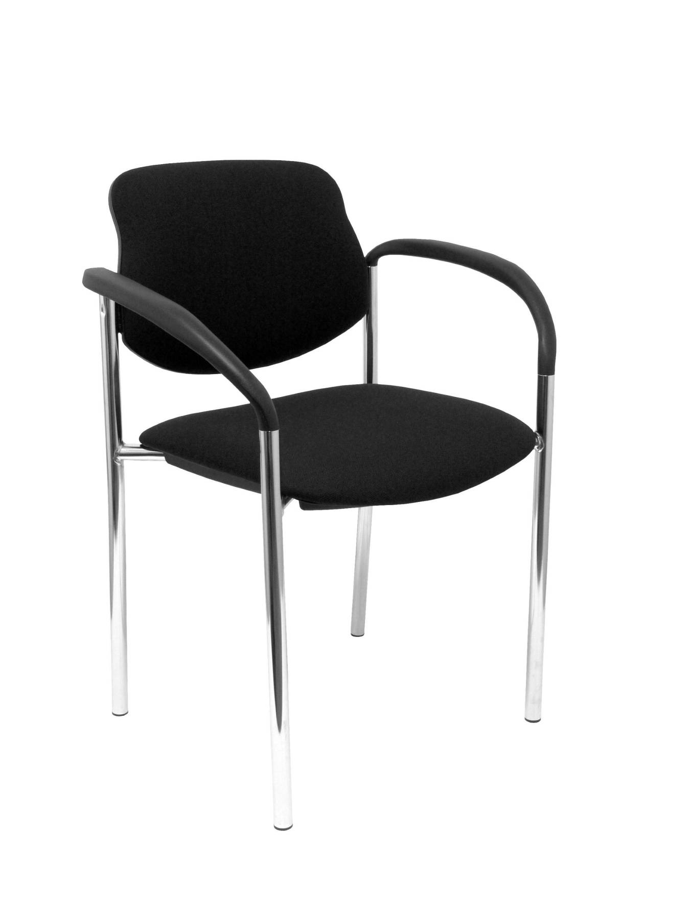Confident Chair 4-leg And Estructrua Chrome Arms-Seat And Back Upholstered In Fabric BALI Color Black PI