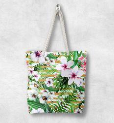 Else тропические зеленые листья фиолетовый белый цветок Модная белая веревка ручка Холщовая Сумка Хлопок Холст на молнии сумка через плечо