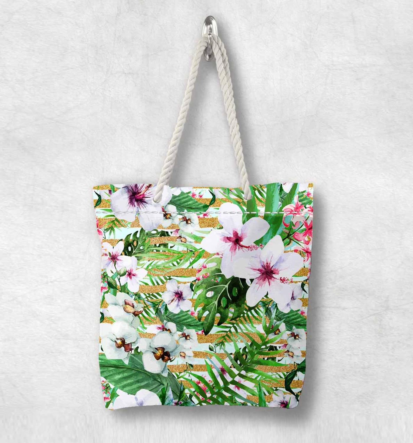 Else Tropical Green Leaves Purple White Flower Fashion White Rope Handle Canvas Bag Cotton Canvas Zippered Tote Bag Shoulder Bag