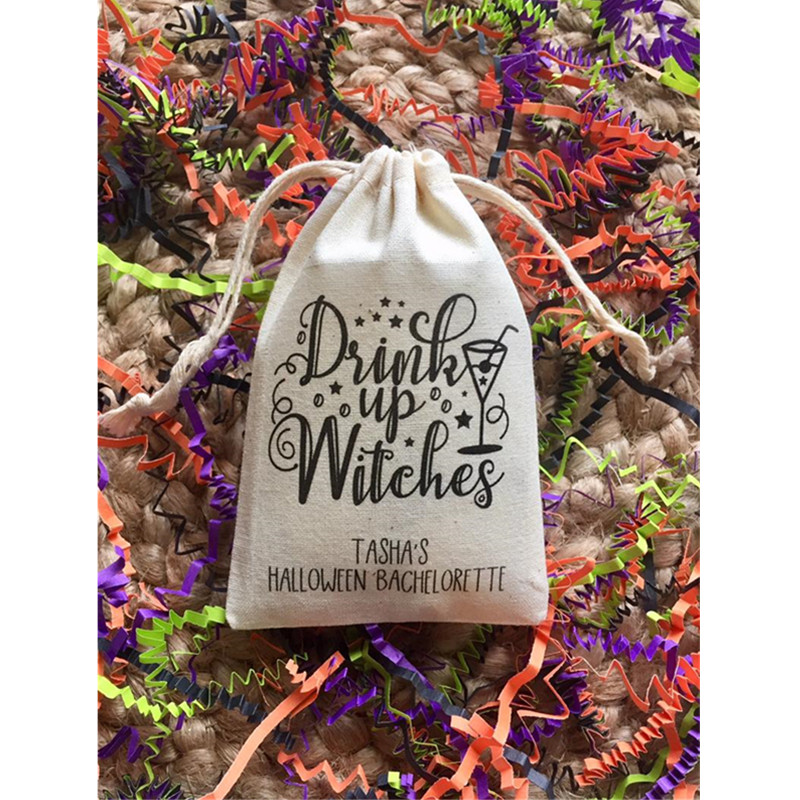 Custom Muslin Halloween Bachelorette Party Favor Bag Drink Up Witches Bachelorette Survival Kit Bags Bridal Shower Hangovers Bag