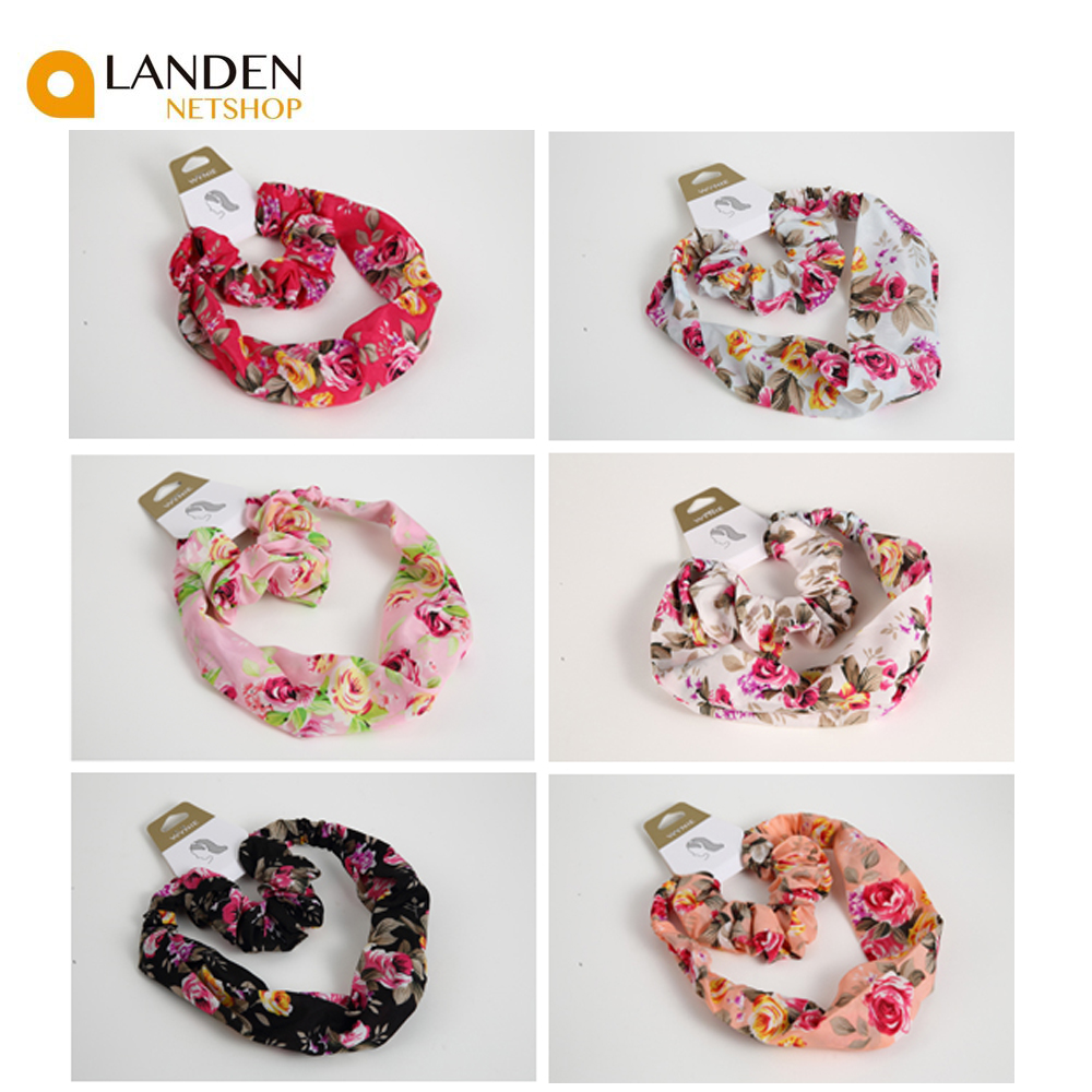 2 Pcs/set Tapes Headbands Hair Bands + Scrunchies Rubber Bands Hair Accessories's Fashion A Flower