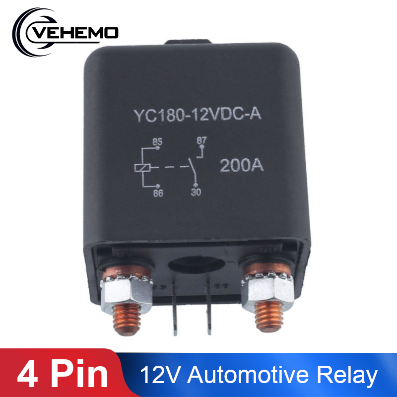 Vehemo 12V 200A relé 4-pinne for bil Auto Heavy Duty Installer Split Chargeover