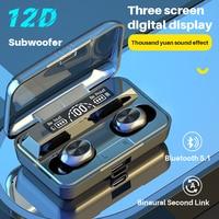 Auriculares inalámbricos con Bluetooth 5,1, dispositivo de audio TWS, impermeable, con cancelación de ruido, estéreo 12D, deportivos, con micrófono