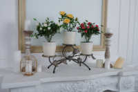 Exclusive durable table triple flower stand in pots Birch artistic forging decor for home office