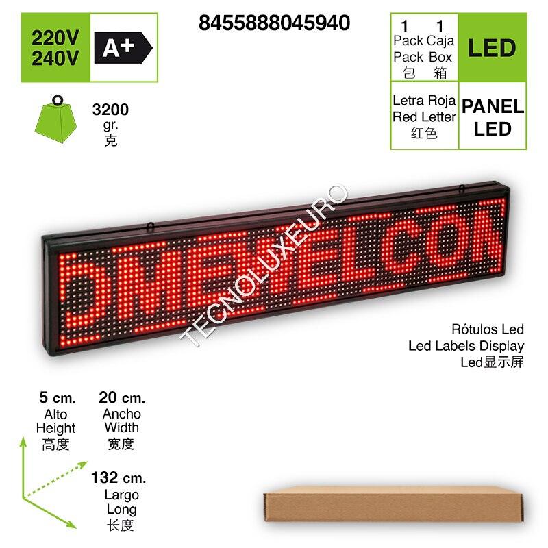 RÓTULO LED ELECTRÓNICO Aluminio Pantalla Letras Rojas 132 CM X 20 CM X 5CM