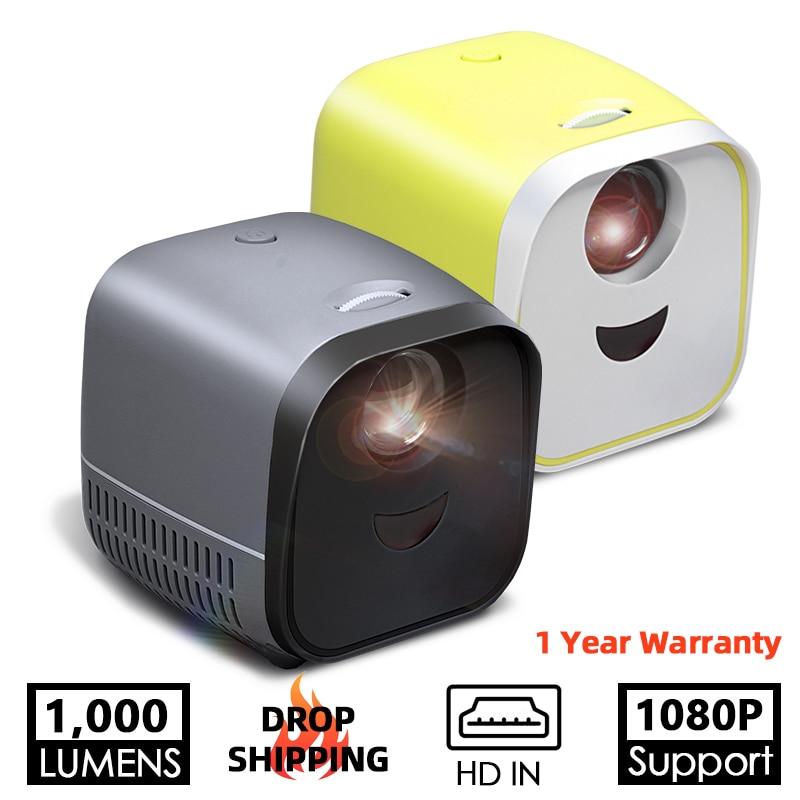Projektor LED L1 | 1000 lumenów 3.5mm Audio 320x240 pikseli HDMI Mini projektor USB domowy odtwarzacz mediów obsługuje 1080P wysokiej klasy prezenty