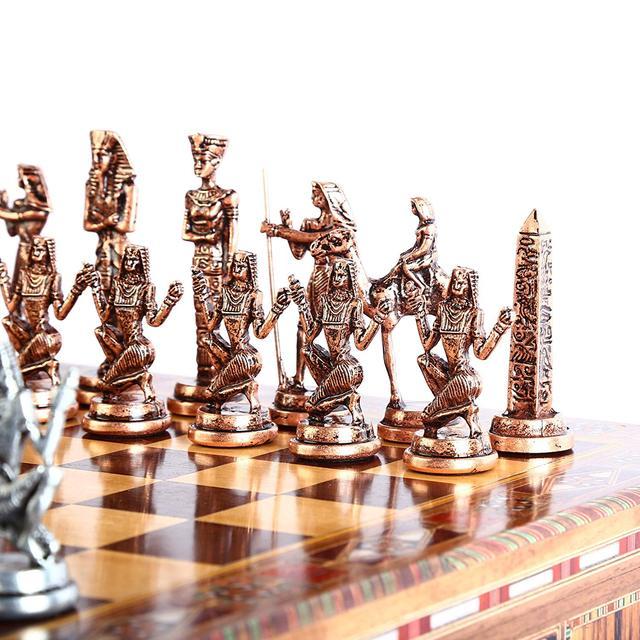 Jeu d'échecs en cuivre  figurines pharaon égyptien, pièces en métal massif faites à la main, échiquier en bois massif naturel, rangement à l'intérieur 4