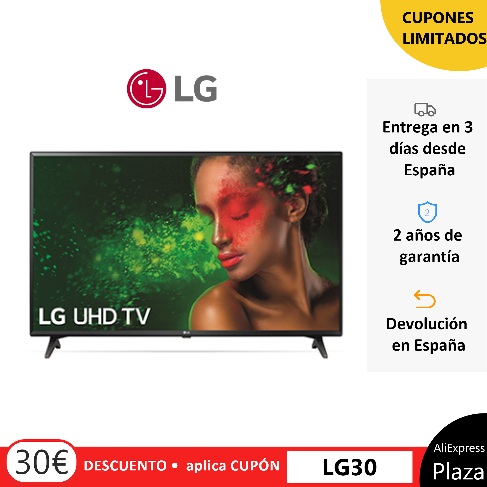 "Televisor LG TV LED 49"" 55"" UM7000PL UHD 4K Smart TV 4K Televisión Procesador Quad Core, Sonido ULTRA Surround Plaza España"