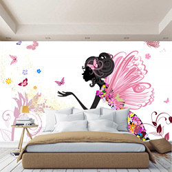 Baby 3D wall mural fairy and butterflies, wallpaper on the wall, for Hall, kitchen, bedroom, nursery, wall mural expanding space