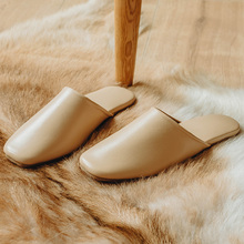 Flat Shoes Genuine Leather Slippers Home Office Mute Silent Soft Sole Sheepskin Slippers Fashion Mules Slip On Sandals For Women