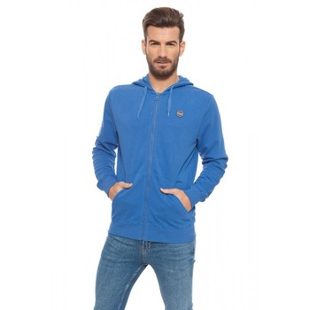 Lonsdale man sweatshirt hooded and zipper closure color blue Poseidon Spring Summer (Loupe 17015) logo on chest цена 2017