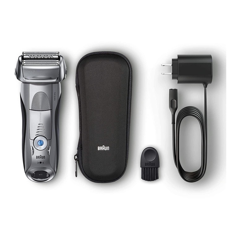 Зубных щеток Braun электрическая бритва для Для мужчин, серия 7 7893s электробритва с точный триммер, Перезаряжаемые, Wet & Dry & дорожная сумка чехол 1