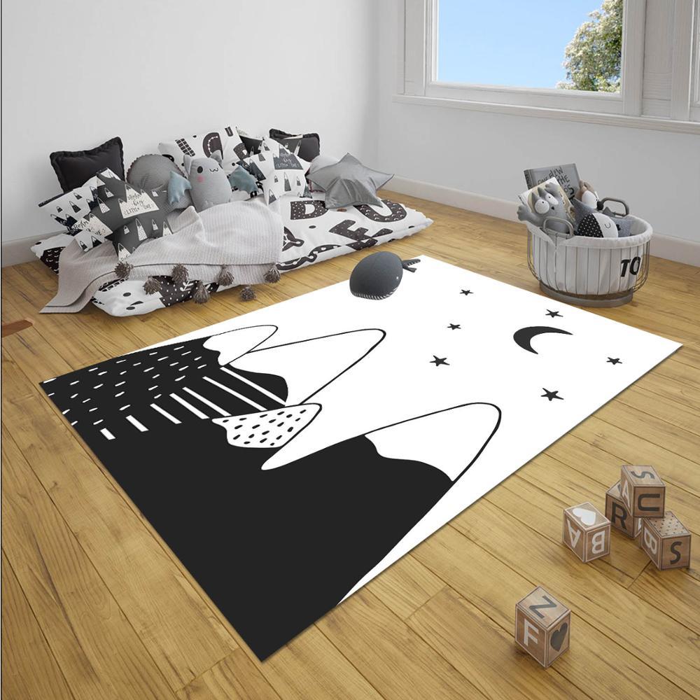 Else Black White Night Mountain Moon Stars Boy 3d Print Anti Slip Microfiber Children Baby Kids Room Decorative Area Rug Mat