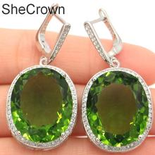 Big Gemstone 22x18mm Green Peridot White CZ Gift For Girls Silver Earrings 40x20mm
