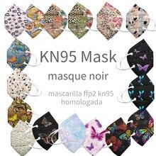 Masque kn95 pour adultes, 5 pièces, ffp2ce, imprimé papillon, respirant, pour le visage, couleurs ffp2