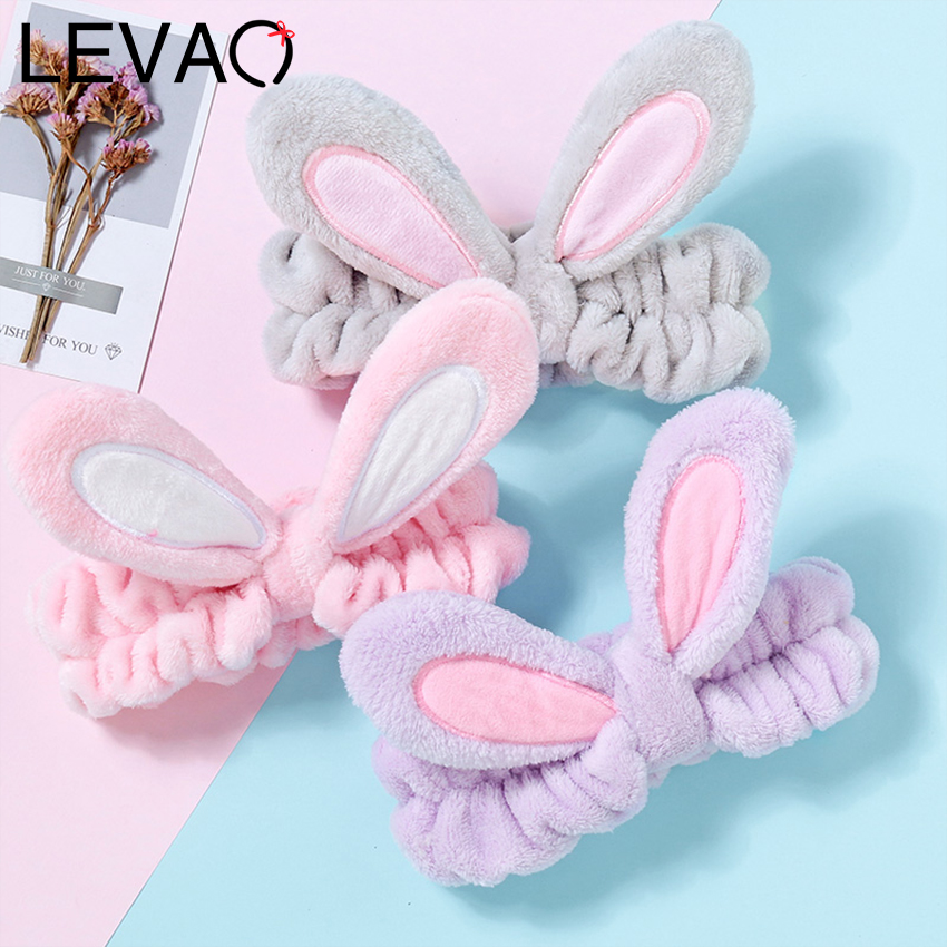 Levao Fashion Flannel Soft Bow Rabbit Ears Headband For Women Girls Turban Hairbands Makeup Wash Face Hair Band Hair Accessories