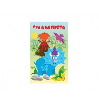 INVITATION TO MY PARTY ARGUVAL DINOSAUR DIE CUT BLISTER 8 UNITS