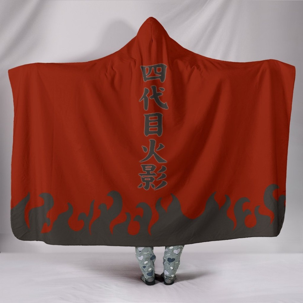 Anime Naruto Hokage Cloak 3d Printed Plush Hooded Blanket For Adults Kid Warm Home Wearable Double Layer Fleece Throw Blankets