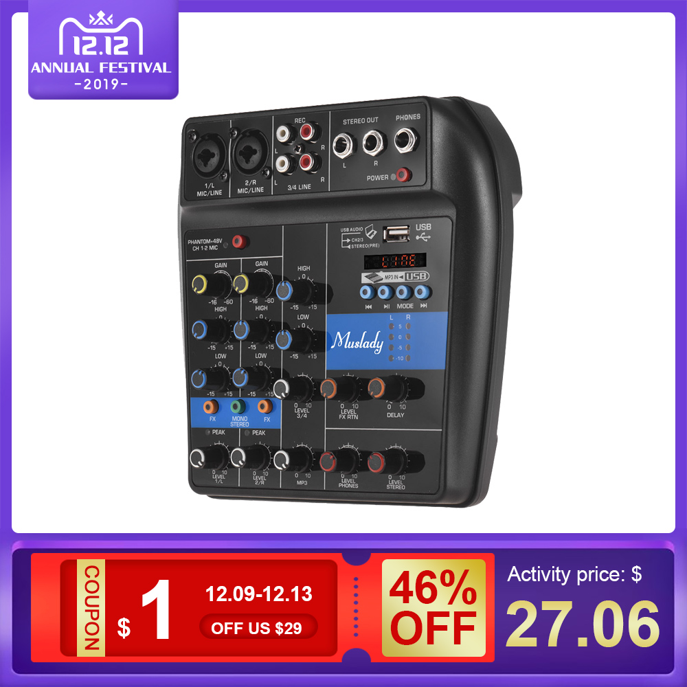 Muslady S-1 4-Channel BT Mixing Console Digital Audio Mixer Built-in Reverb Effects +48V Phantom Power 2-band EQ Mixer Audio Hot