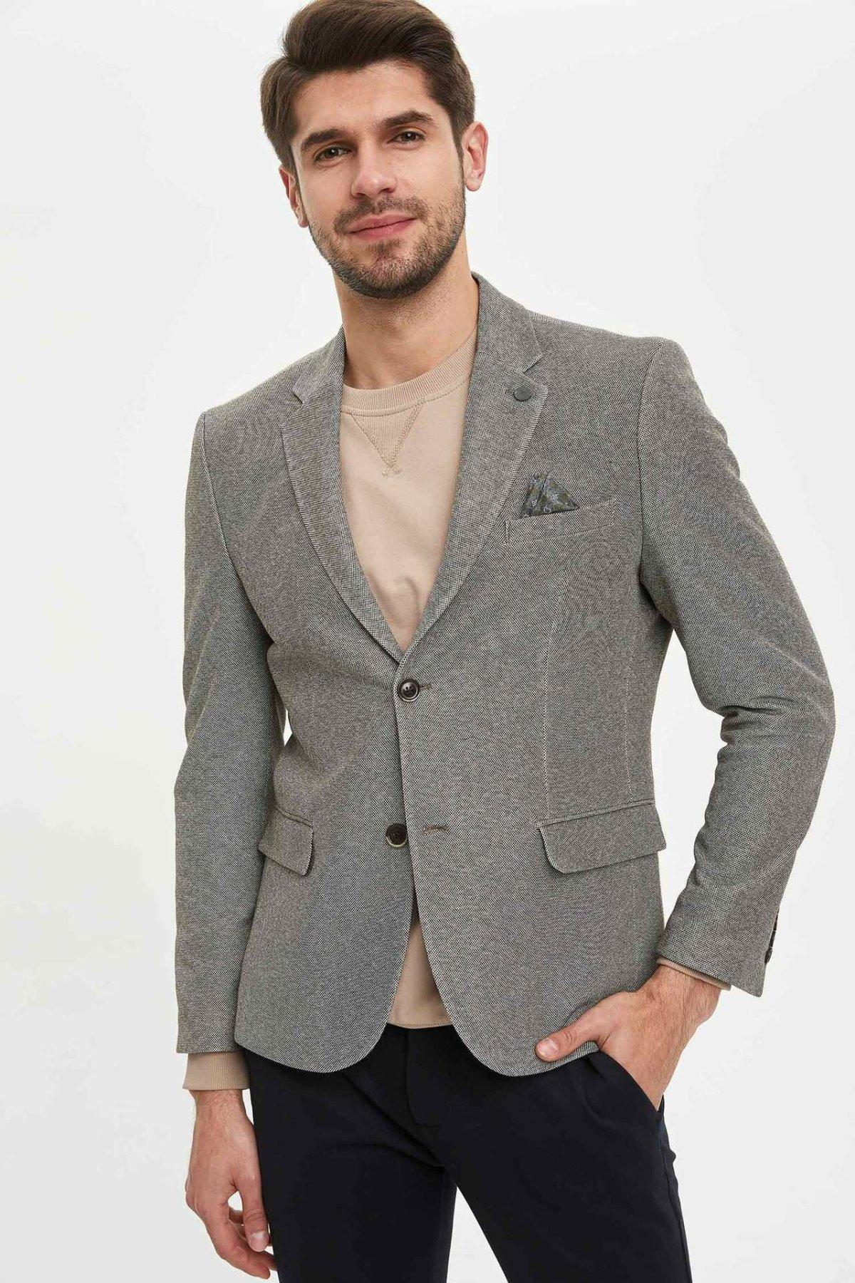 DeFacto Man's Spring Blazer Men's Smart Casual Blazer Coats Men's Solid Color Blazer Suits Business Suit-N0504AZ20SP