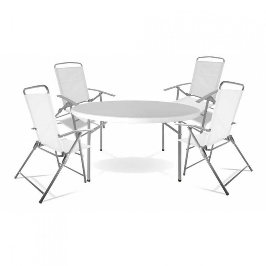 Table Set Round Ø120cm Resin And 4 Folding Chairs White Textile