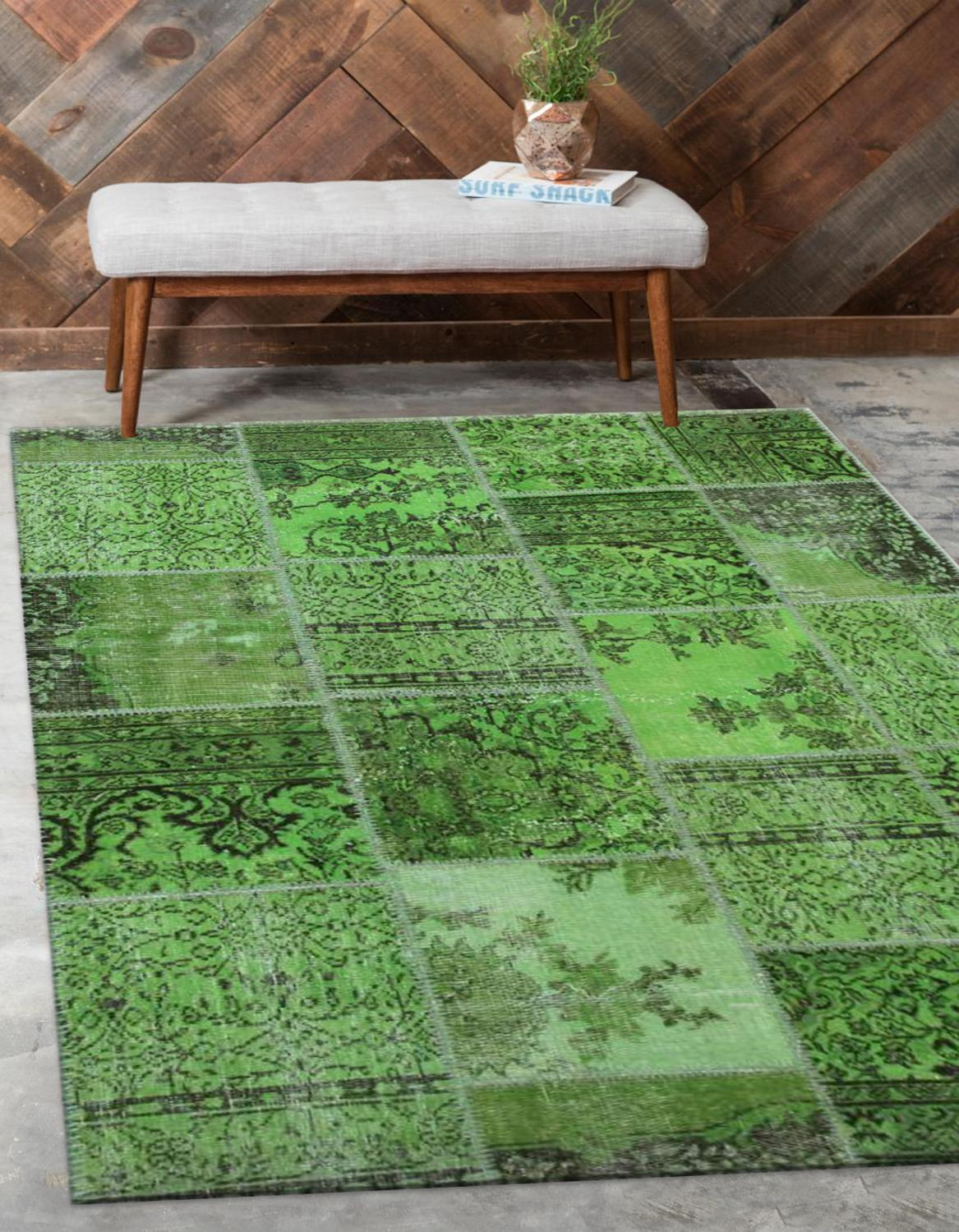 Else Green Anatolian Patchwork Rug Turkish Handmade Organic Area Rug Decorative Home Decor Wool Patchwork Rug Carpet