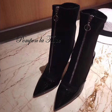 MNK 930069 Pointed Toe Patent Leather Elastic Knitted Fabrics 9CM High Heels Stilettos Stylish Zipper Fashion Women Shoes Boots