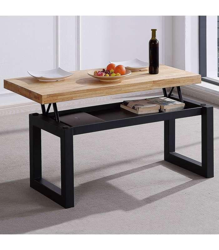 Center Table Liftable Loft Oak Color Wild Structure Black.