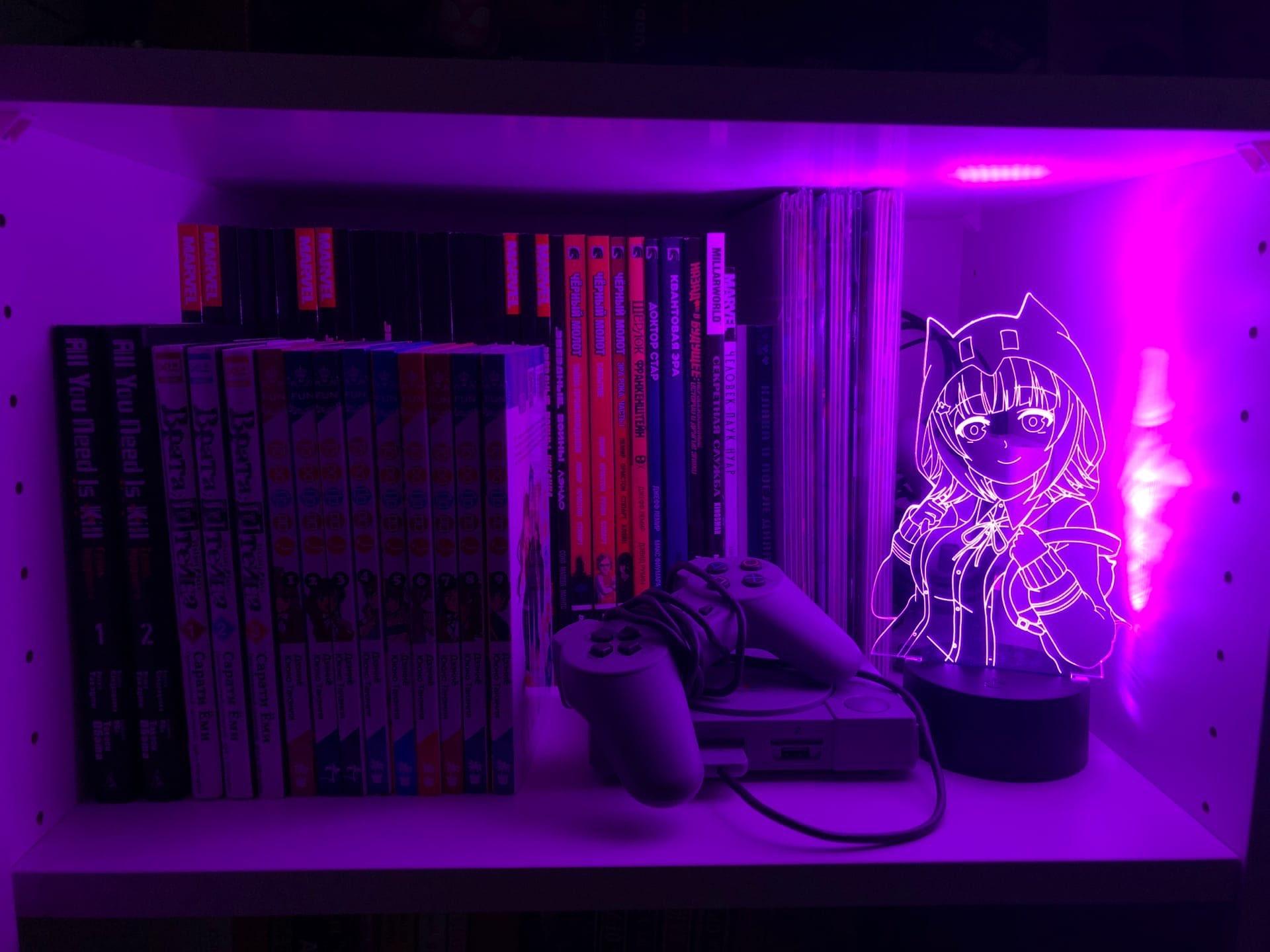 Color: Base Negra GEZHF L/ámpara de ilusi/ón 3D Danganronpa 2 Chiaki Nanami Led Anime L/ámpara Illusion Iluminaci/ón de Color Cambio de Luz de Noche Lampara para Navidad -Base Negra sin mando a distancia