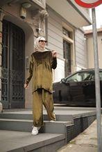 Butik Melike damski aksamitny Khaki garnitur nowy nabytek Sport hidżab abaya moda muzułmańska zestaw islamska odzież modlitewna odzież turcja