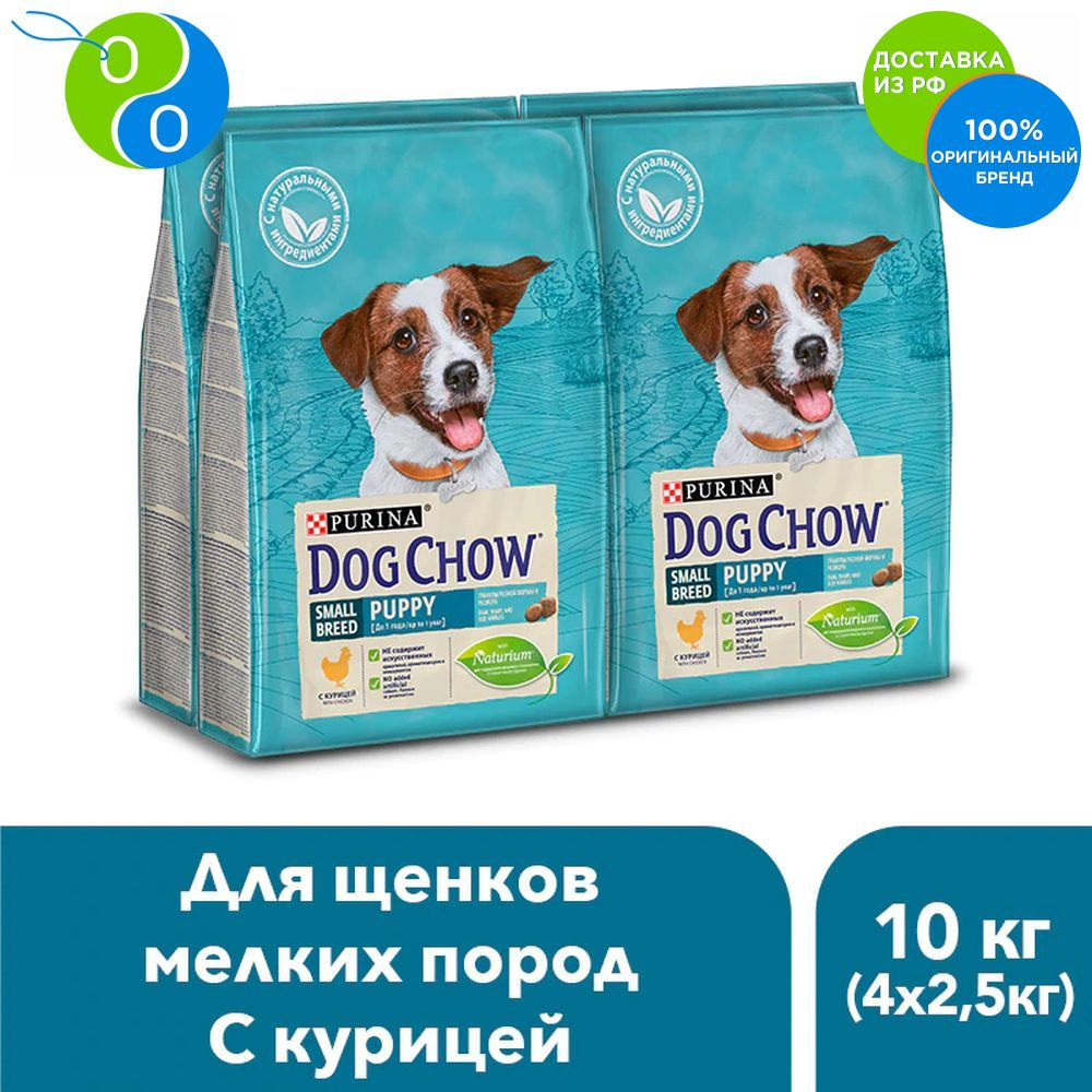Set of dry Dog Chow diet for small breed puppies, chicken, package, 2.5 kg x 4 pcs.,Dog Chow, Purina, Pyrina, For active dogs, adult dogs, for cats, for dogs, puppies, turkey, pet food, chicken, salmon, Anyone Package, cute deer patterned christmas new year socks for pet cat dog white red size l 4 pcs