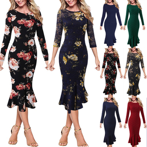 Vfemage Womens Elegant Vintage Pinup Floral Print Lace Business Casual Cocktail Party Wedding Bodycon Mermaid Pencil Dress 2787(China)