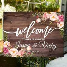 Welcome to Our Wedding Welcome Board Signs Wood Welcome Sign Wedding Custom Couple Name Date with Flower Rustic Wedding Decor(China)