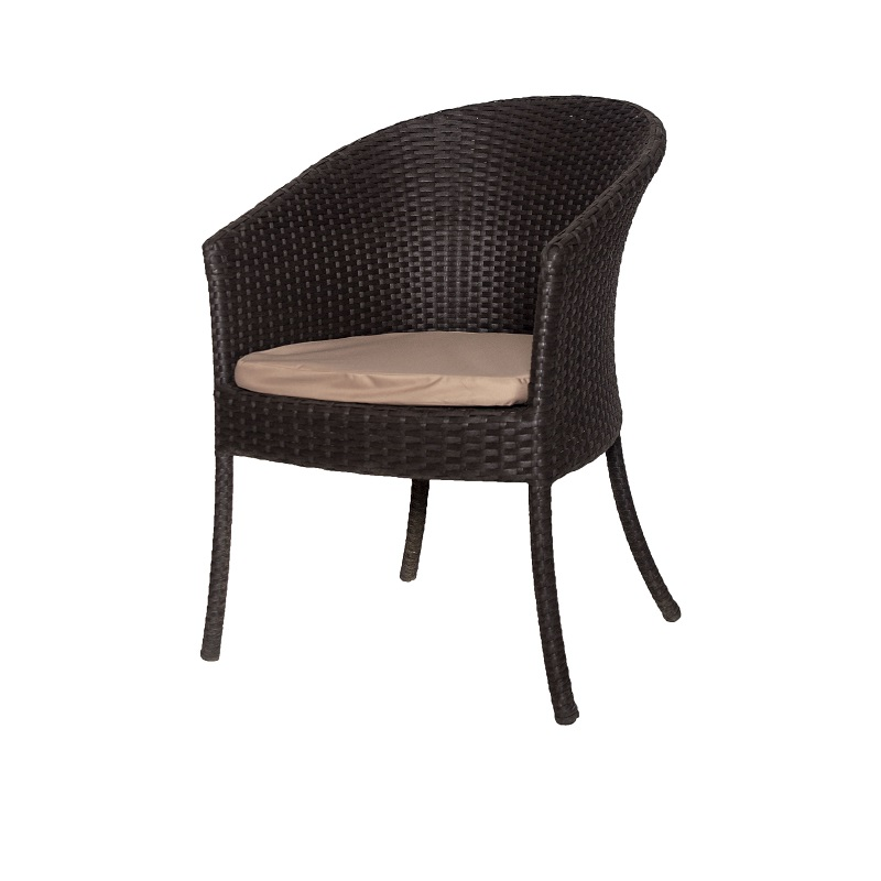 Chair Of Artificial Rattan Ривьера-M With Pillow. Color Wenge