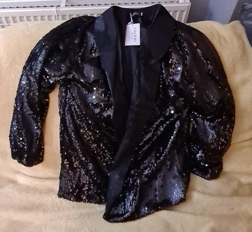 5XL Bling Bling Sequins Blazer Feminino Autumn Women Jacket Plus Size Black Shiny Party Blazer Mujer Casual Streetwear blaser 25 reviews №1 68161