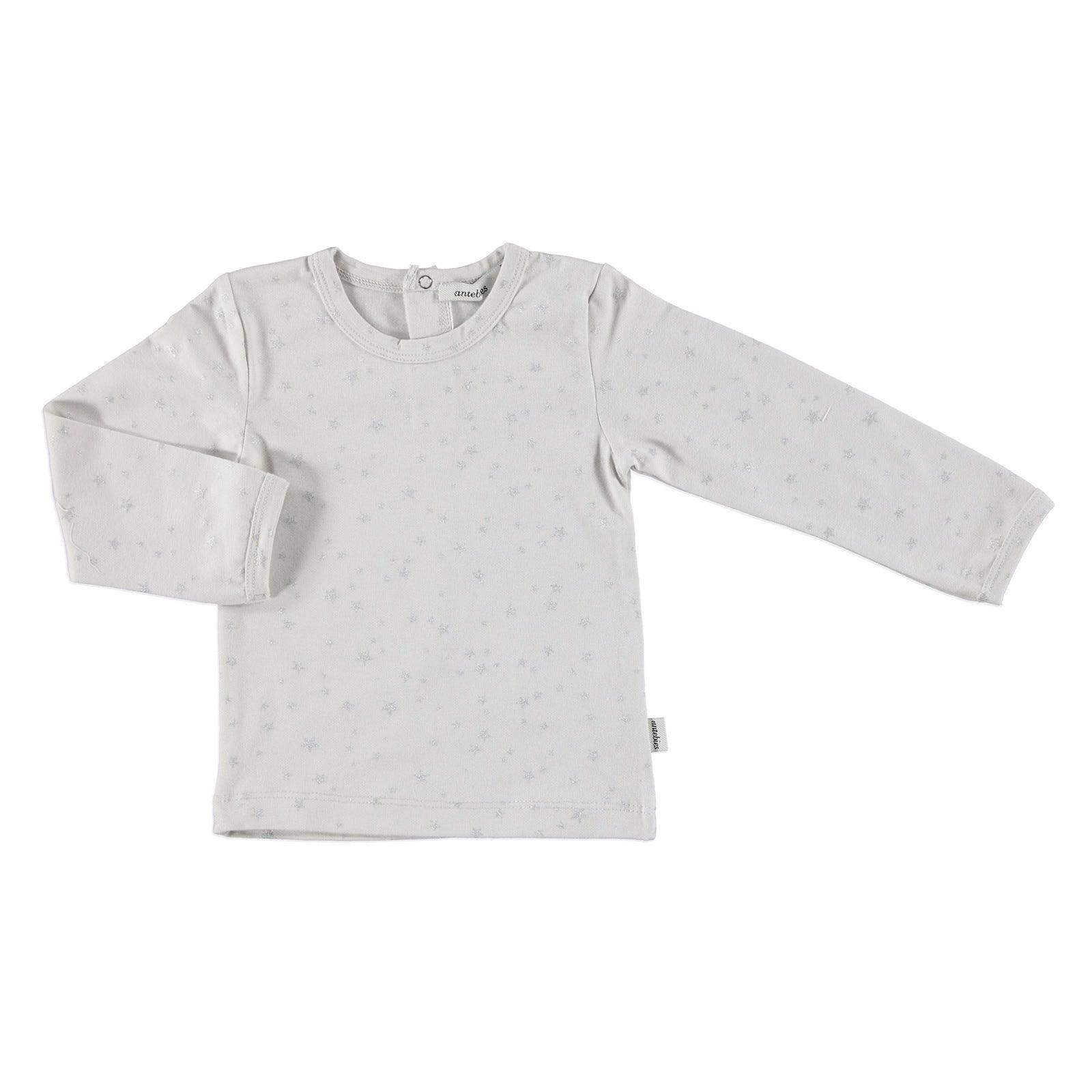 Ebebek Antebies Baby Organic Star Patterned Jersey Fabric Long Sleeve Bodysuit