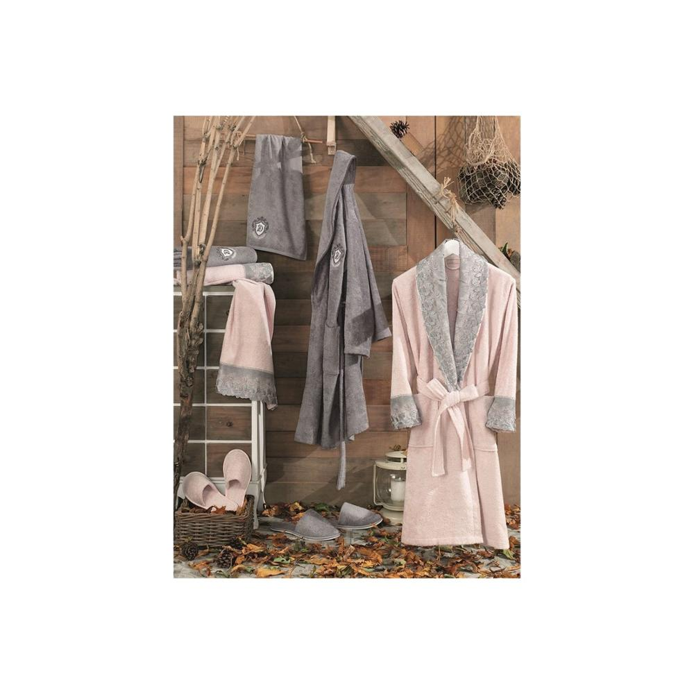 Lace Vita Bamboo Family Bathrobe Set Jasmin Powder-Gray