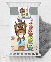Else Funny Brown Bears Colored Cute Owls Birds 3D Print Cotton Satin Single Bedspread Bed Cover Gift Combine Pillow Cover