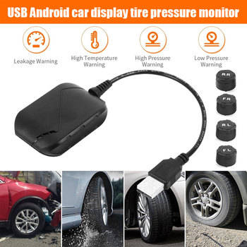 3.5 Bar USB Car TPMS Tire Pressure Monitoring System For Android Multimedia Player 4PCS External Sensors 5V Auto Pressure Alarm image