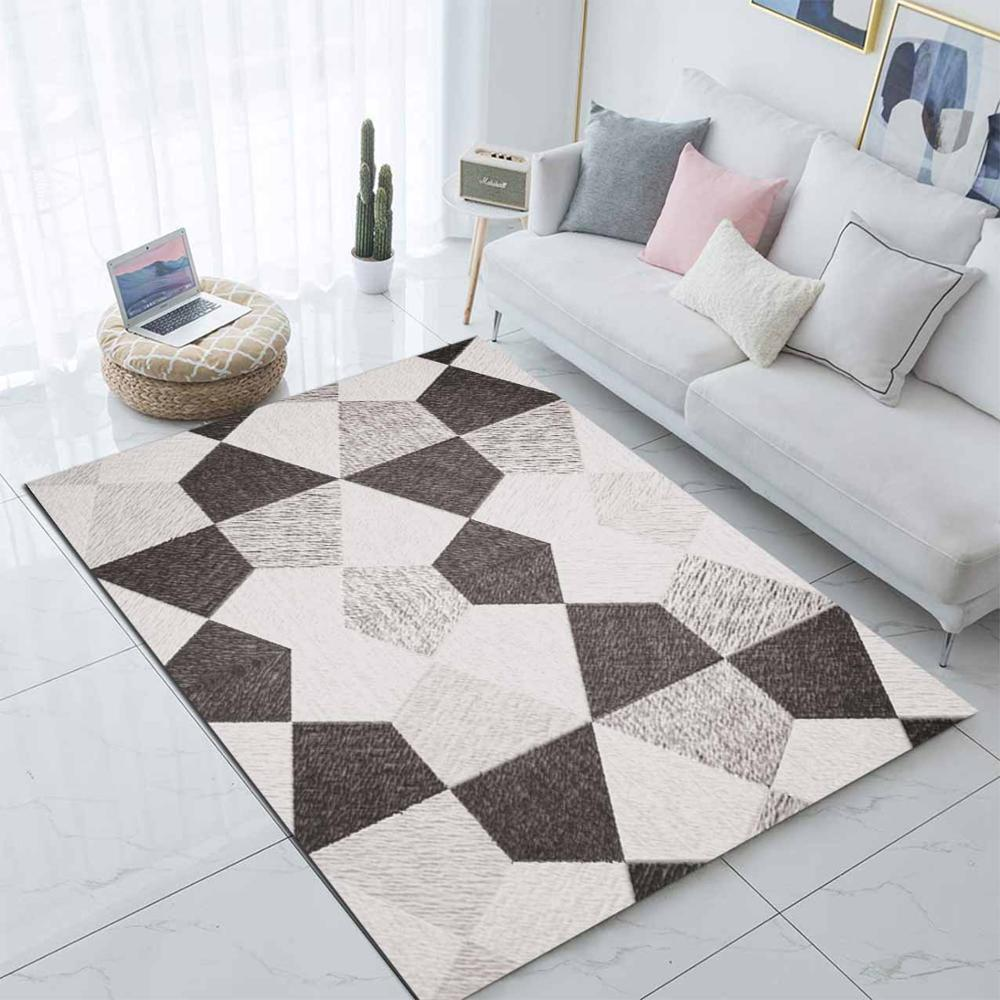 Else Gray White Abstract Patchwork  Scandinavian 3d Print Non Slip Microfiber Living Room Modern Carpet Washable Area Rug Mat