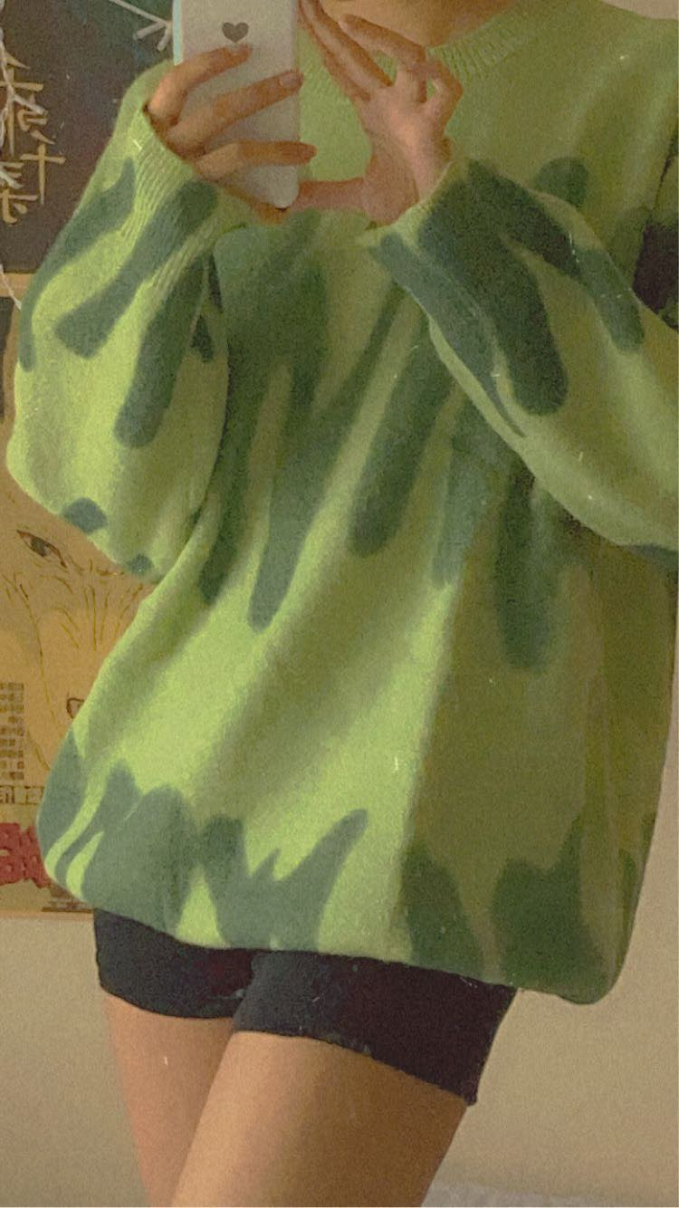 Print Knitted Sweater Women Elegant Green Striped Oversized Pullovers Women Winter Loose Long Sweaters Streetwear Sueter Mujer photo review
