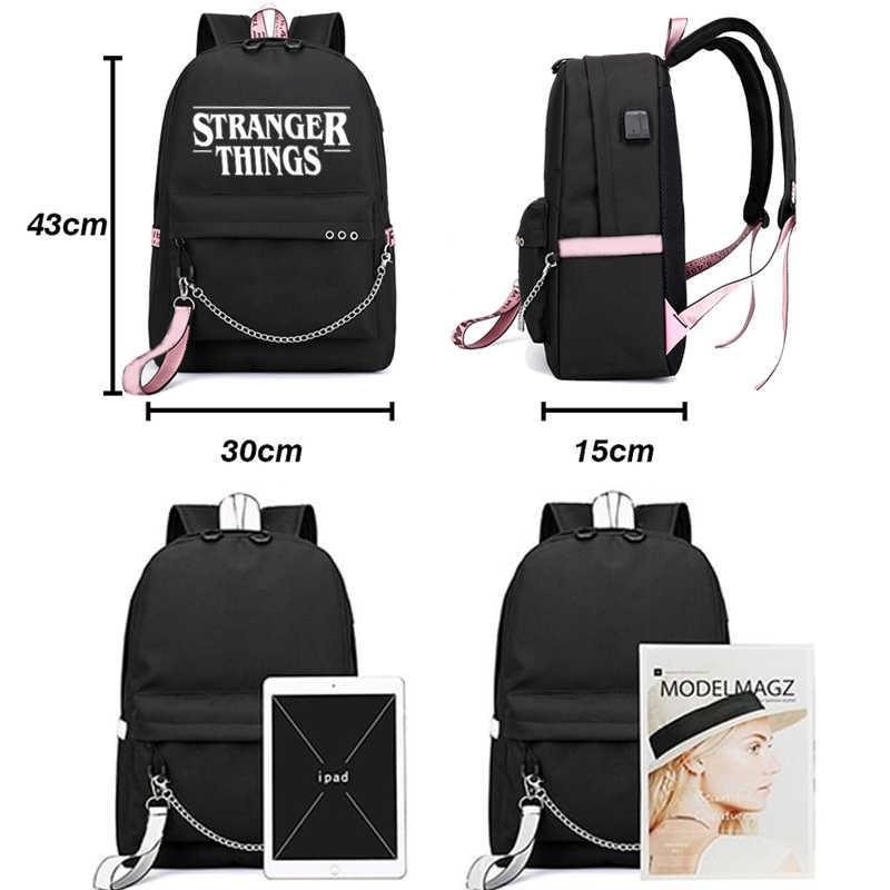 Hal Yang Aneh Ransel Kanvas Siswa Tas Fashion Huruf Cetak Tas Bahu untuk Anak Perempuan Pink Pita Rucksack USB Pengisian