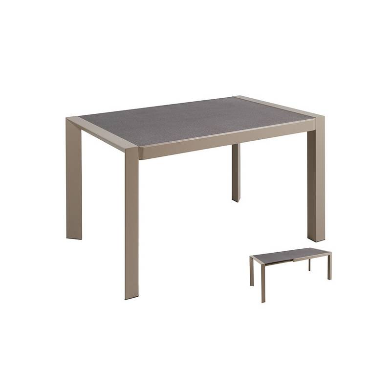 Dining Table Crystal Metal Gray (120x82x76 Cm)