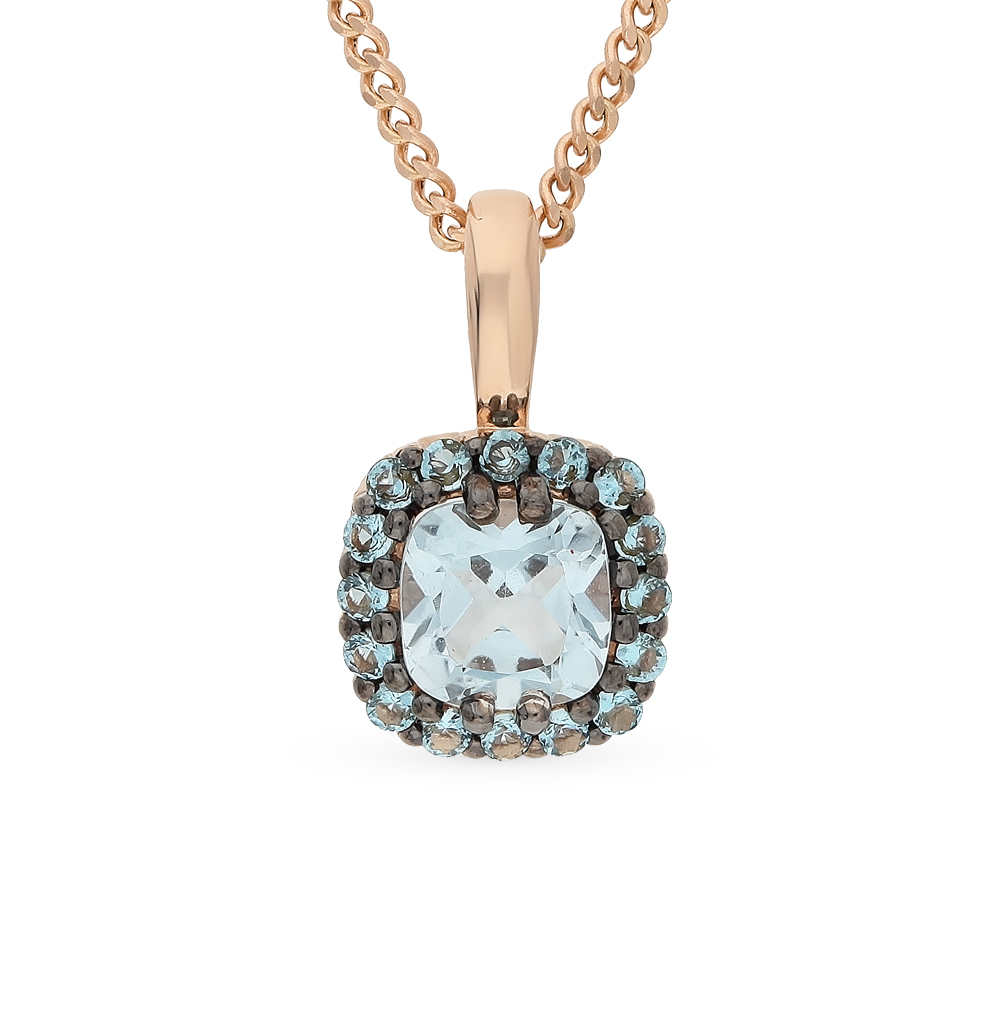 Gold Pendant With Cubic Zirconia And Topaz Sunlight Sample 585